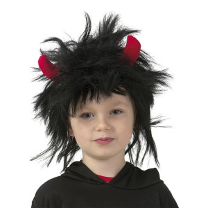 Barnperuk svart med horn