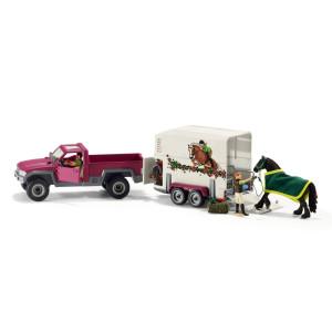 Pickup med hästsläp, ryttare & häst Schleich 42346