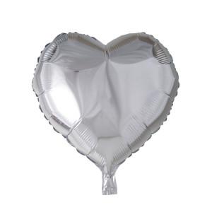 Folieballong hjärta 46cm Silver