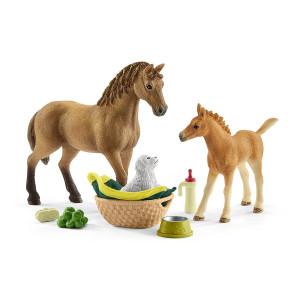 Schleich Saras Fölskötselset med hästar och valp 42432
