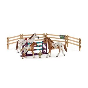 Schleich Lisas Dressyr med Appaloosahästar och tillbehör 42433