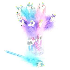 Penna med fluff Enhörning Lila