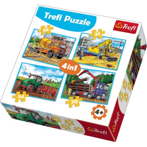 Trefl Arbetsfordon Pussel 4-i-1 34298