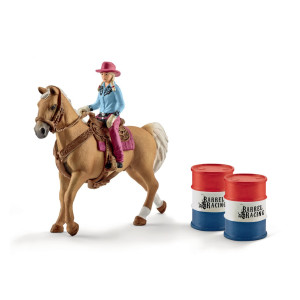 Schleich Barrel racing med cowboyflicka 41417