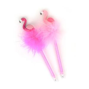 Penna med fluff och flamingo Rosa