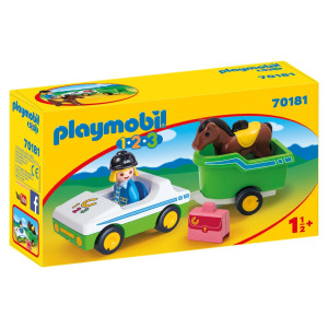 Playmobil® 1.2.3 Bil med hästtransport 70181
